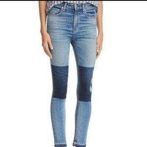 Rag & Bone High Rise Dive Colorblock Ankle Jean 29